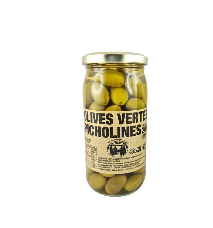 Olives vertes Picholines, Le Vieux Bistrot (200 g)