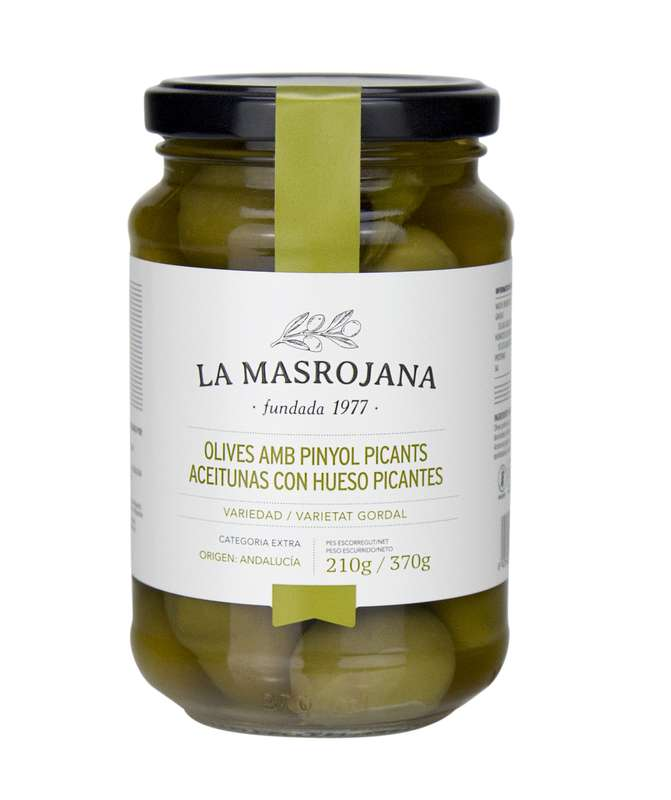 Olives vertes piquantes avec noyau, La Masrojana (210 g)