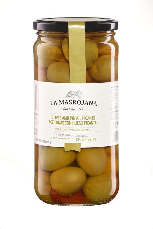 Olives vertes piquantes avec noyau, La Masrojana (450 g)