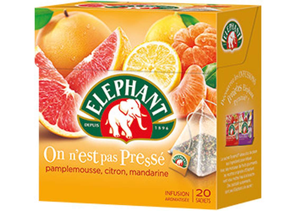 Infusion pamplemousse citron et mandarine, Elephant (20 sachets)