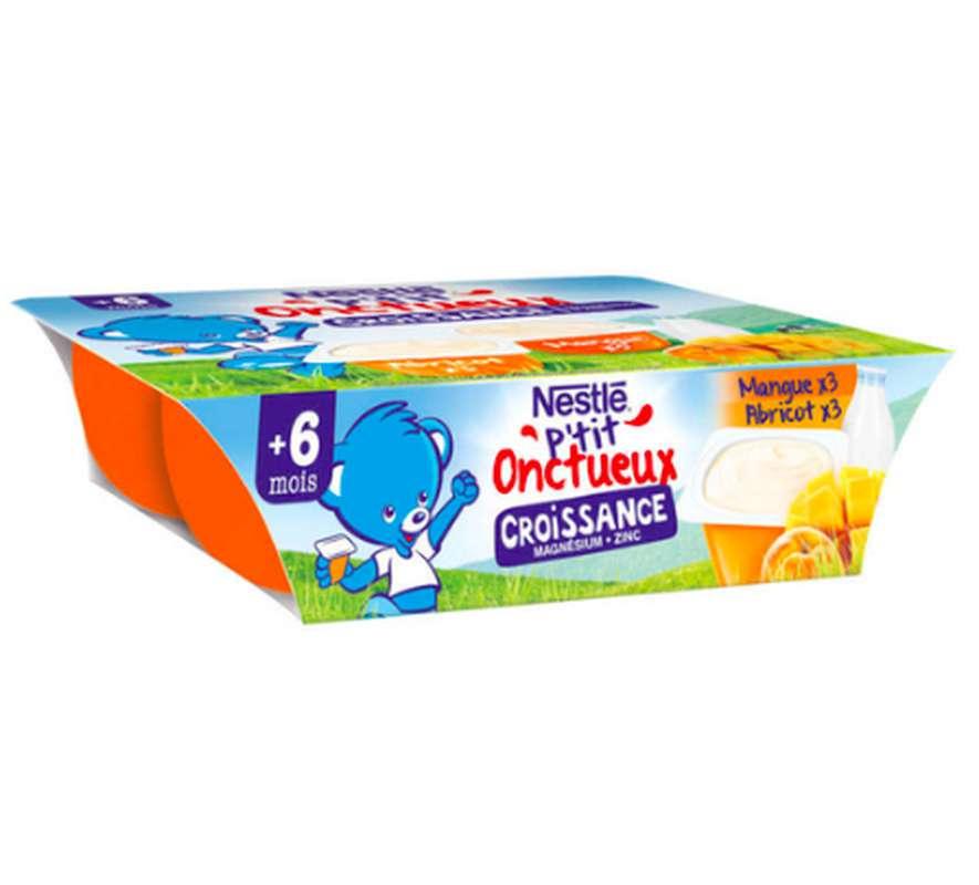 P'tit onctueux croissance abricot/mangue - dès 6 mois, Nestlé (6 x 60 g)