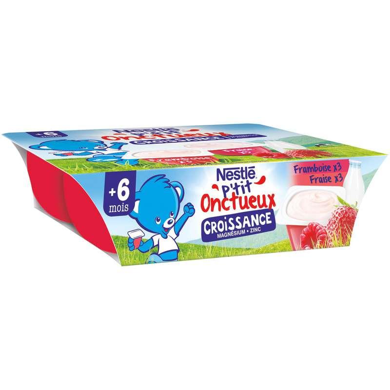 P'tit onctueux croissance fraise/framboise - dès 6 mois, Nestlé (6 x 60 g)