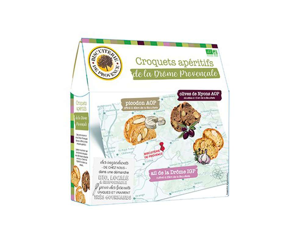 Pack Apéritif Croquets de la Drôme Provençale BIO, Biscuiterie de Provence (x 3, 150 g)