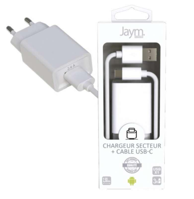 Pack chargeur secteur 1 usb 2.4A avec câble usb vers usb-c blanc, Jaym (longueur 1,5 m)