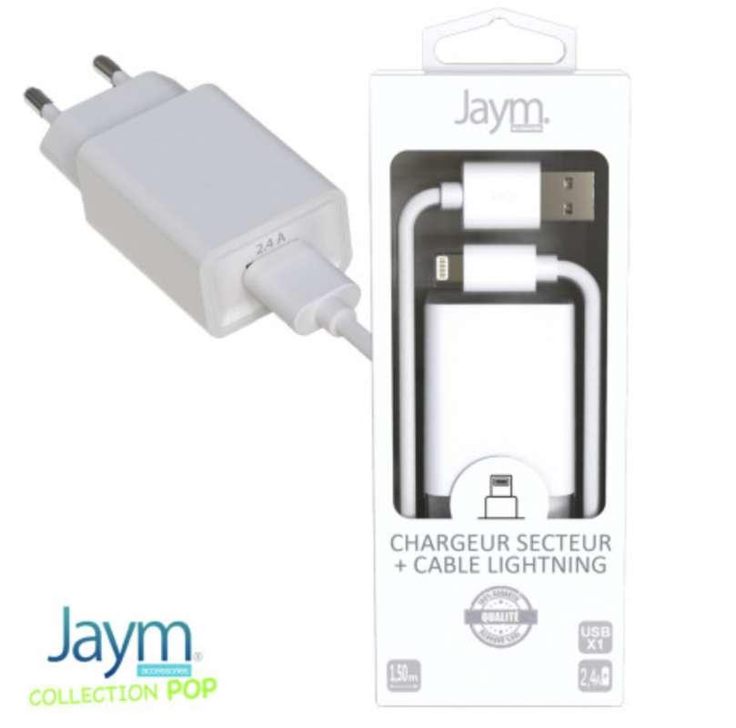 Pack chargeur secteur 1 usb 2.4A avec câble usb vers iPhone (lightning) blanc, Jaym (longueur 1,5 m)