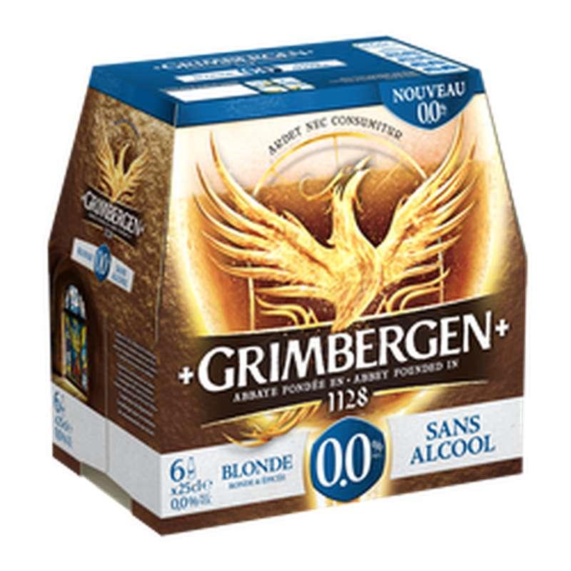 Pack de bière blonde sans alcool 0°, Grimbergen (6 x 25 cl)
