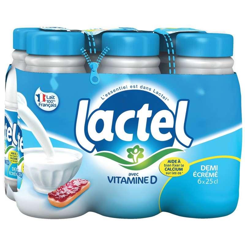 Pack de Lait demi-écrémé, Lactel (6 x 25 cl)