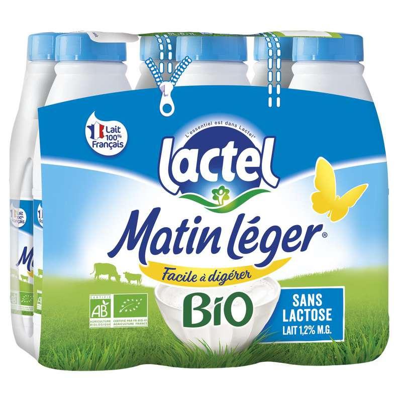 Pack de lait Matin léger facile à digérer 1,2% MG BIO, Lactel (6 x 50 cl)