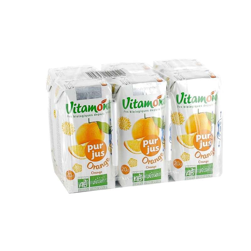 Pack de pur jus d'orange BIO, Vitamont (6 x 20 cl)