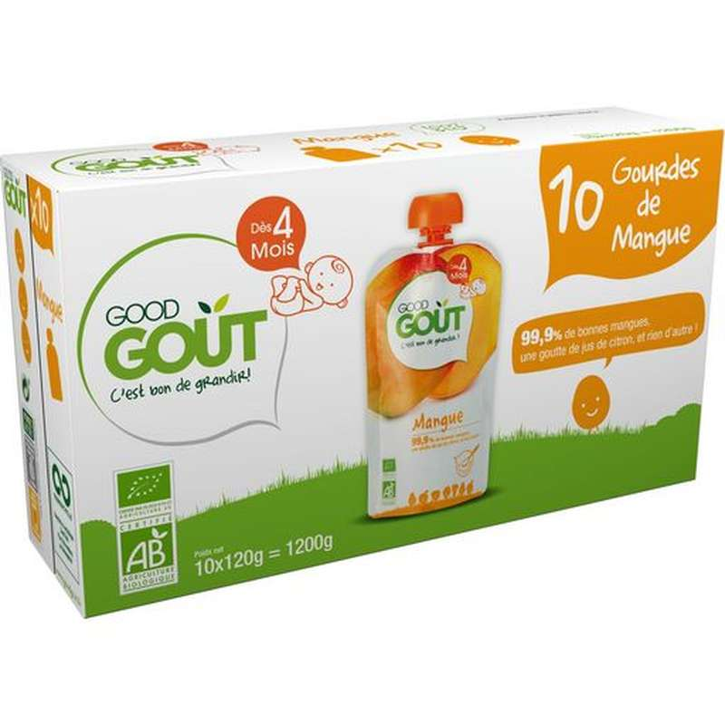 Pack Jumbo Mangue BIO - dès 4 mois, Good Goût (10 x 120 g)