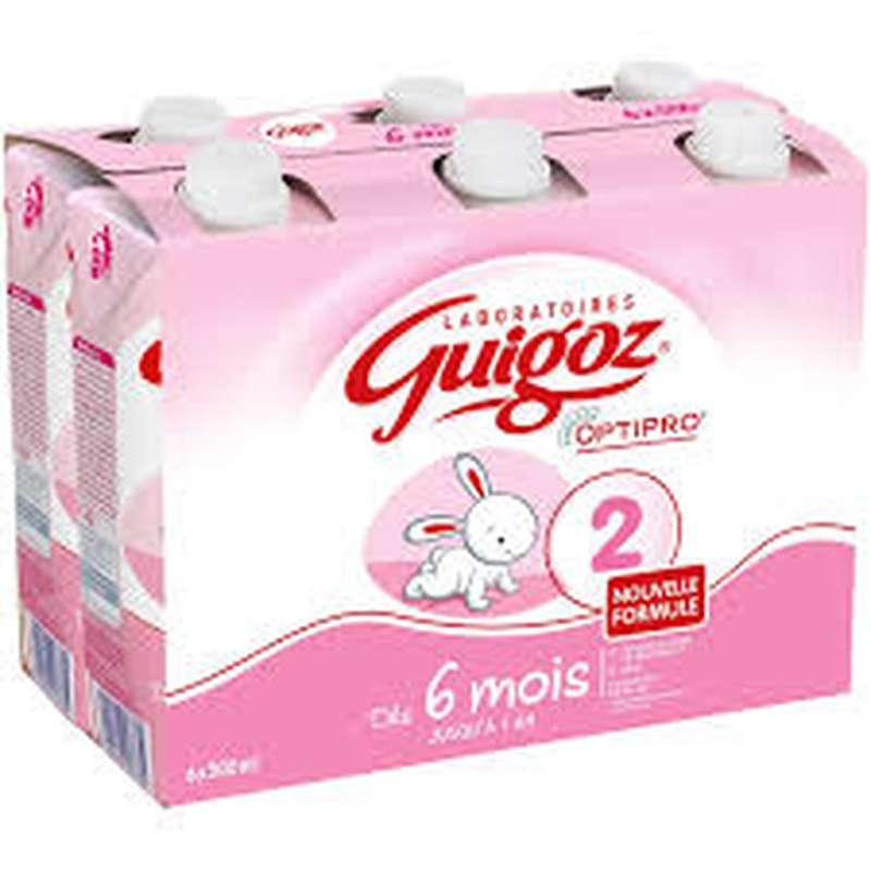 Pack Lait 2ème âge Optipro - de 6 mois à 1 an, Guigoz (6 x 500 ml)