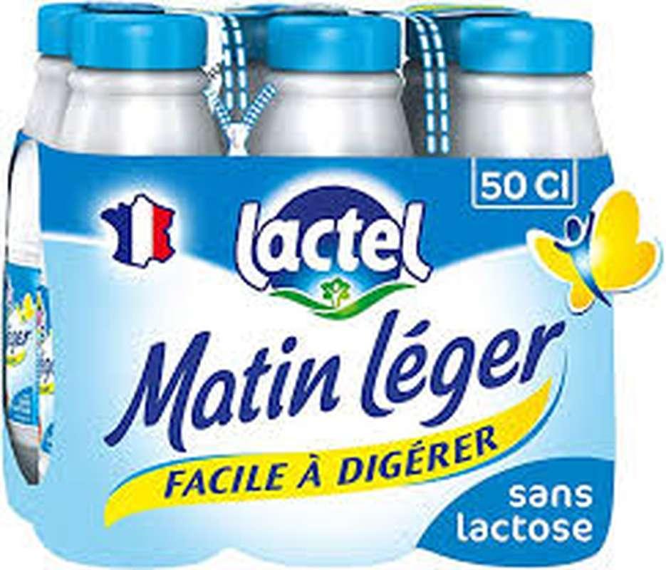 Pack Lait Matin léger facile à digérer 1,2% MG, Lactel (6 x 50 cl)