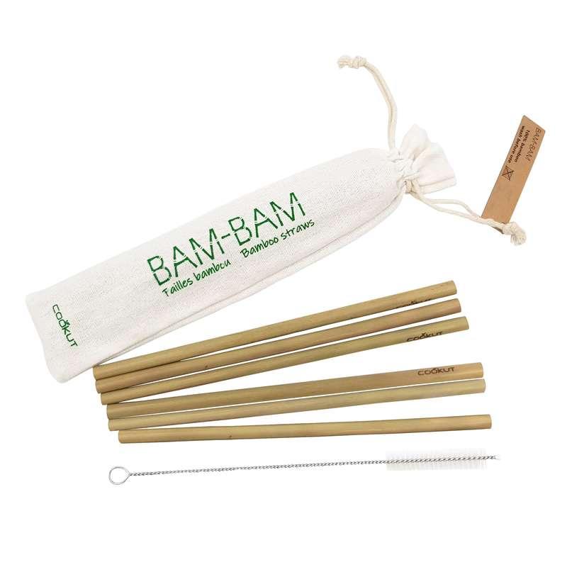 Pailles en bambou réutilisables + goupillon, Cookut (x 6)