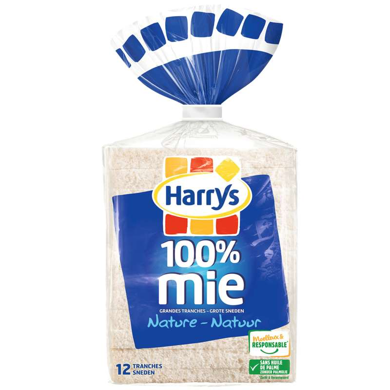 Pain de mie nature grandes tranches 100% mie, Harry's (500 g)