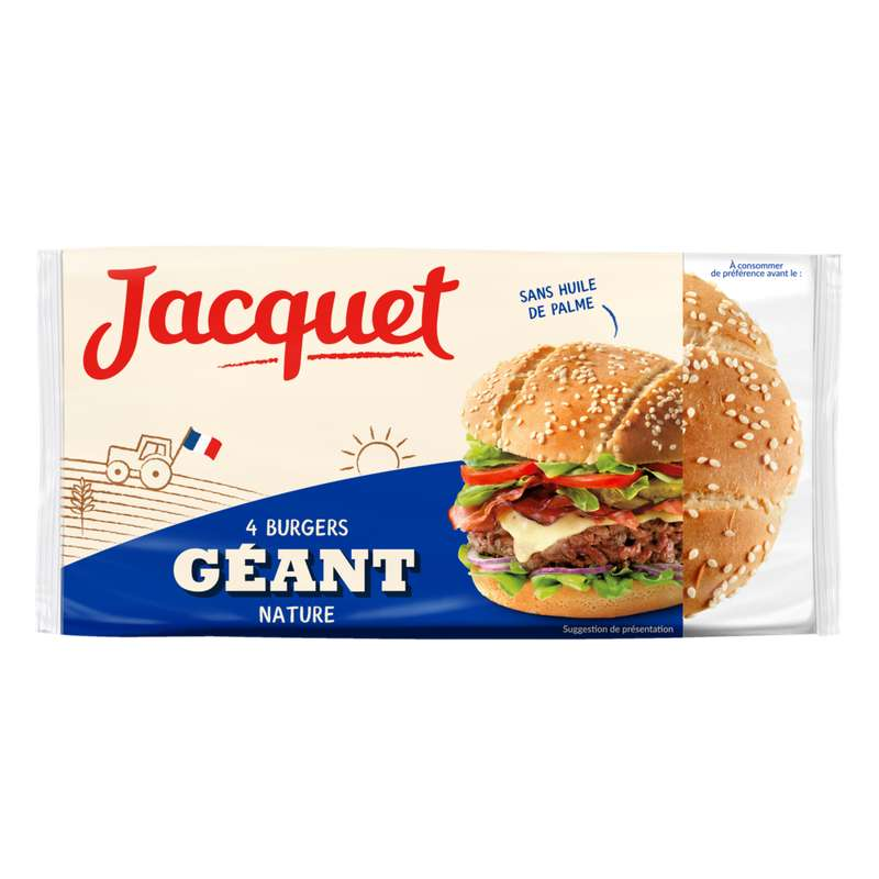 Pains hamburger géants nature, Jacquet (x 4, 330 g)