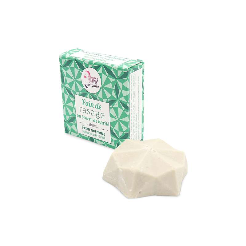 Pain de rasage solide thé vert citron BIO, Lamazuna (55 ml)