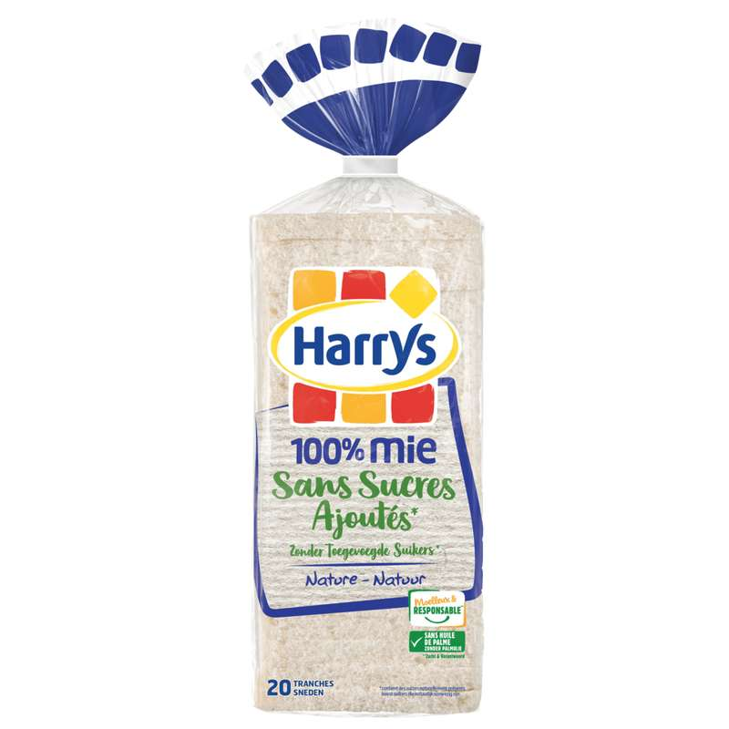 Pain de mie sans croûte 100% mie sans sucres ajoutés, Harry's (500 g)
