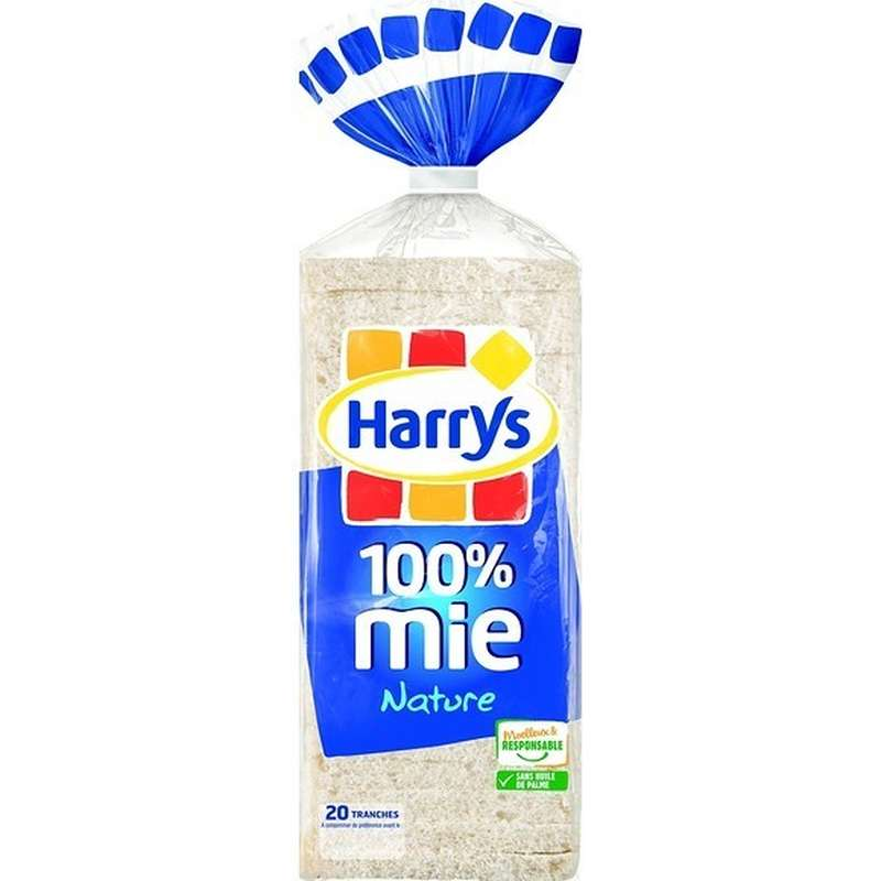 Pain de mie nature sans croûte 100% mie, Harry's (500 g)