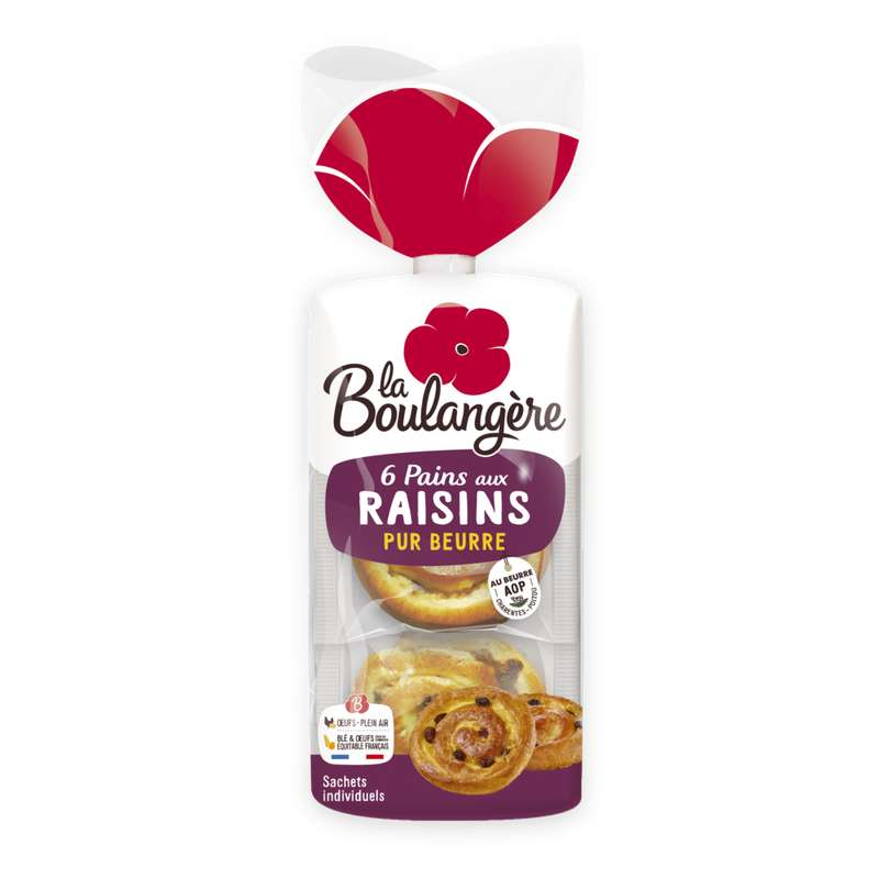 Pains aux raisins à la crème pâtissière, La Boulangère (x 6, 270 g)