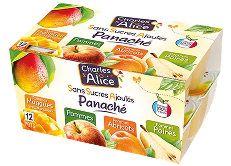 Panaché de compotes sans sucres ajoutés 4 variétés, Charles et Alice (12 x 100 g)