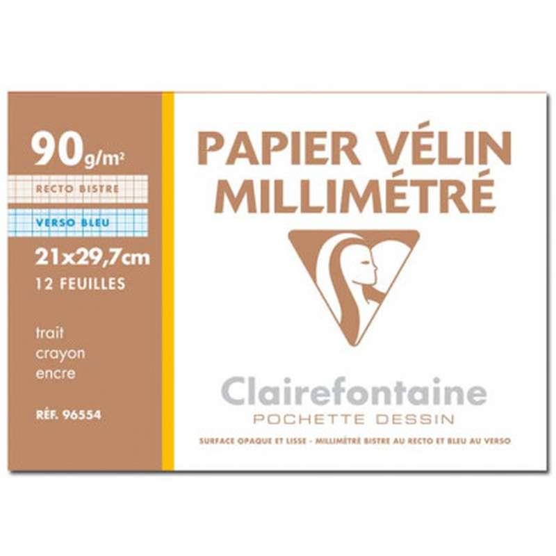 Papier millimétré A4 Pochette, Clairefontaine (x 12 feuilles)