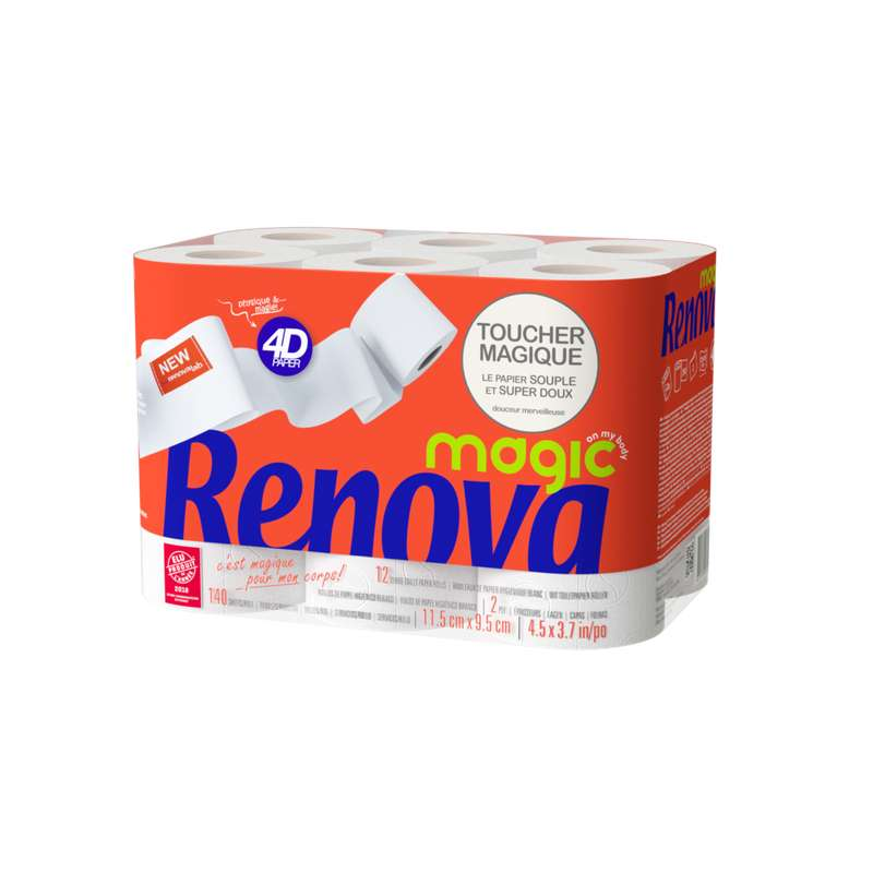 Papier toilette 4D magic, Renova (x 12)