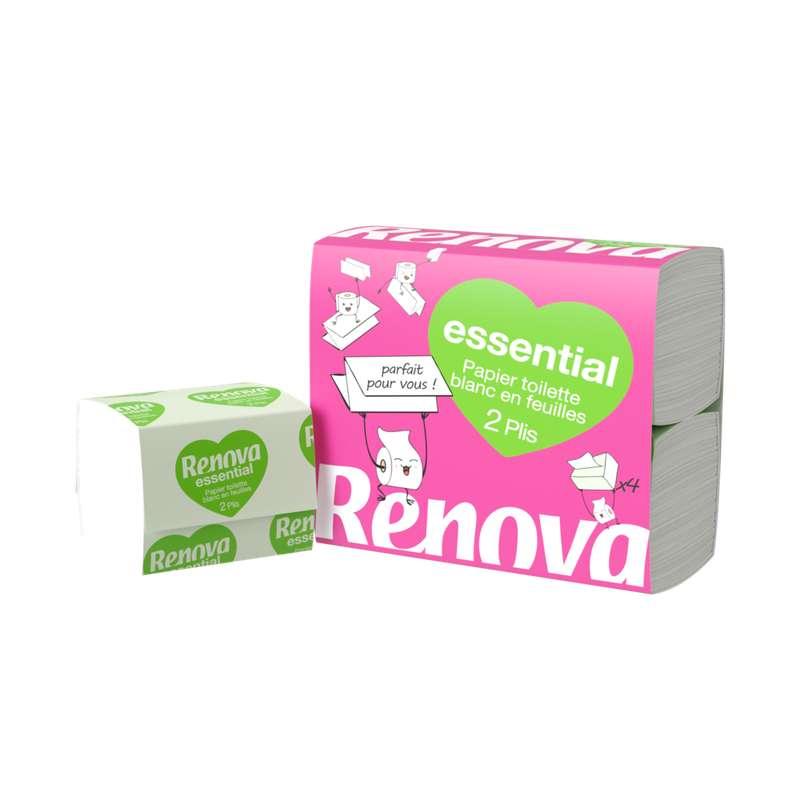 Papier toilette plat 2 plis essential, Renova (x 4)