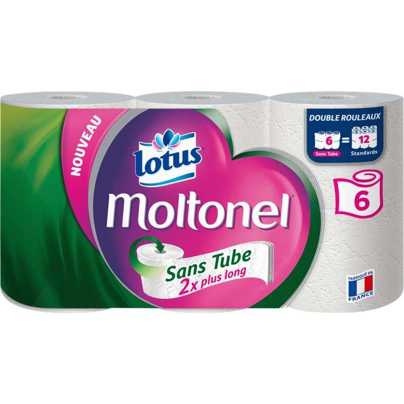Papier toilette moltonel sans tube uni, Lotus (x 6)