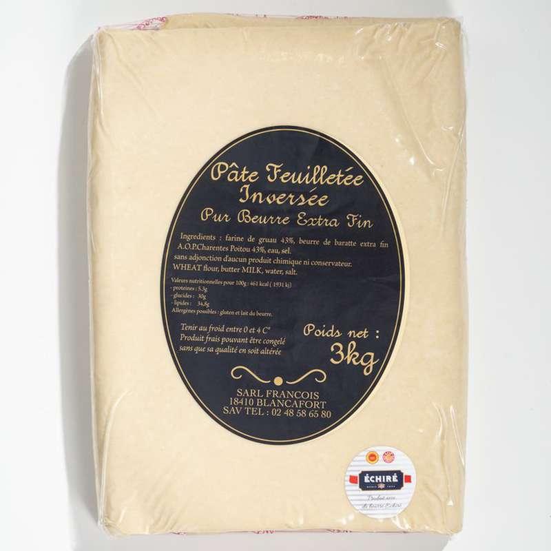 Pâte feuilletée inversée artisanale «François» au beurre extra fin AOP Charentes-Poitou de la laiterie d'Echiré (env. 400 g)