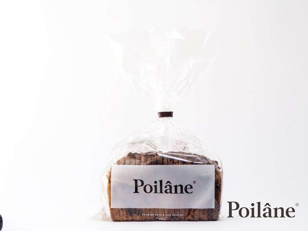 Pavé de seigle aux raisins tranché, Poilâne (600 g)