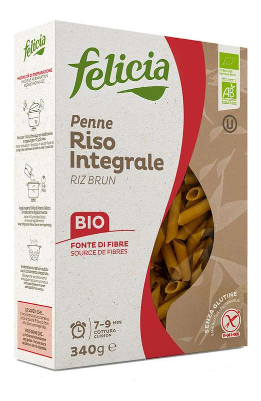 Penne Rigate au riz complet BIO et sans gluten, Felicia (340 g)