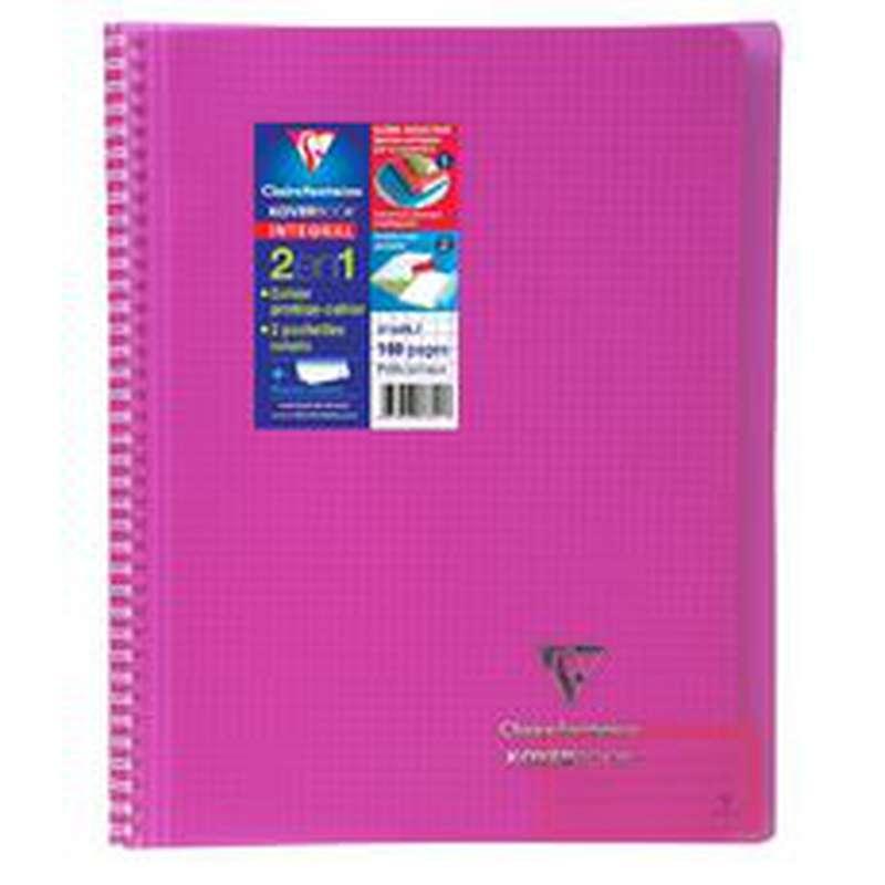 Petit cahier relié petits carreaux colori rose, Clairefontaine (1 cahier, 16 x 21 cm, 160 pages)