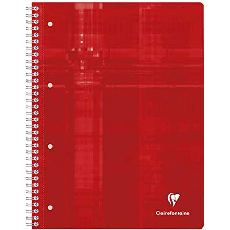 Petit cahier relié petits carreaux colori rouge, Clairefontaine (1 cahier, 16 x 21 cm, 160 pages)