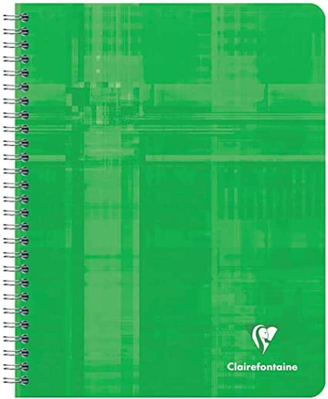 Petit cahier relié petits carreaux colori vert, Clairefontaine (1 cahier, 16 x 21 cm, 160 pages)