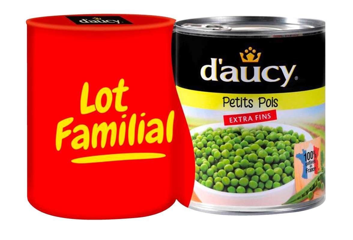 Petit pois extra fin, D'aucy FORMAT FAMILIAL LOT DE 2 (2 x 560 g)