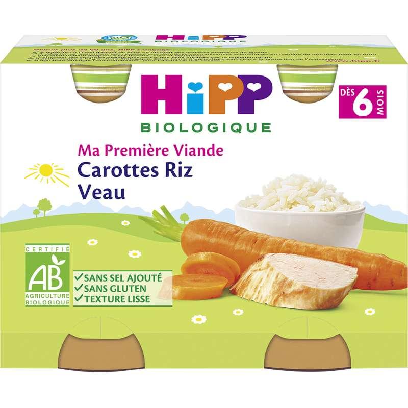 Ma première viande carottes, riz, veau BIO - dès 6 mois, Hipp (2 x 190 g)