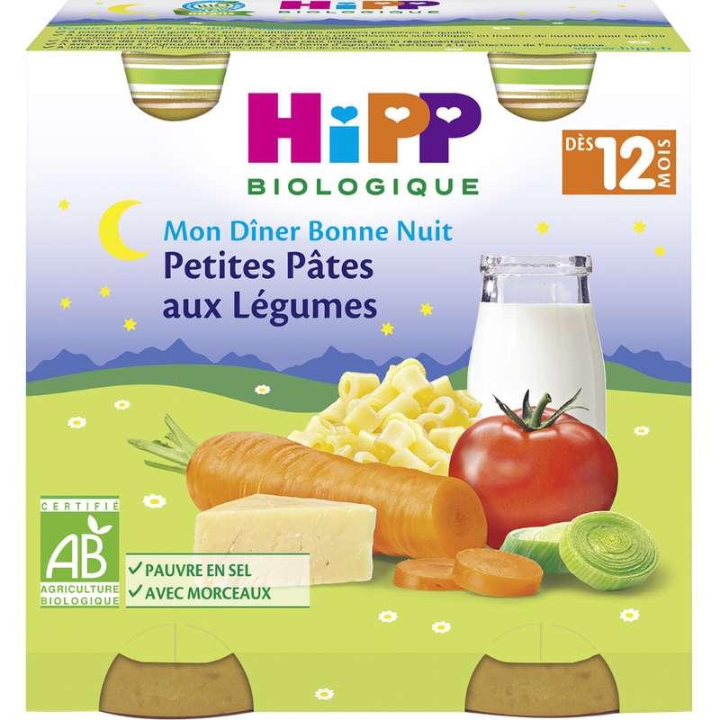 Mon diner bonne nuit petite pâtes aux légumes BIO - dès 12 mois, Hipp (2 x 250 g)