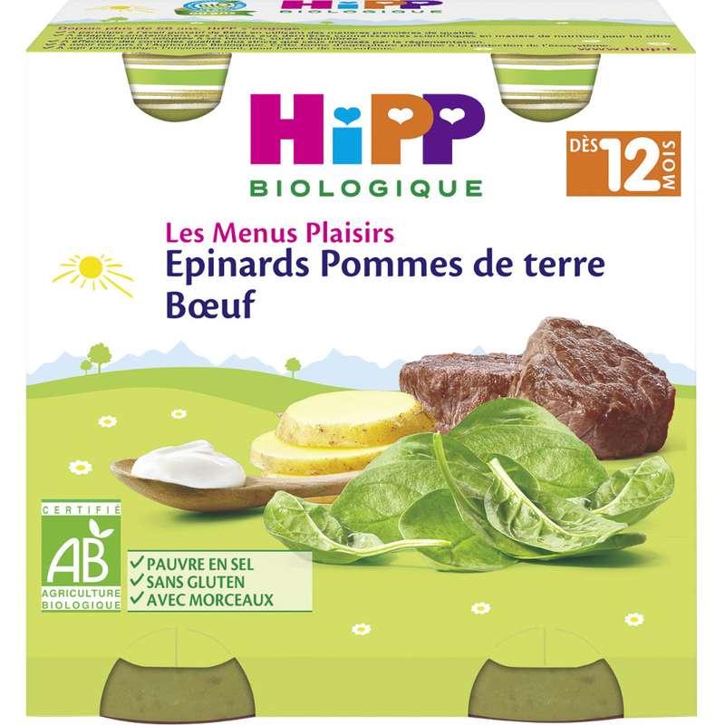 Les menus plaisirs épinards, pommes de terre, boeuf BIO - dès 12 mois, Hipp (2 x 250 g)