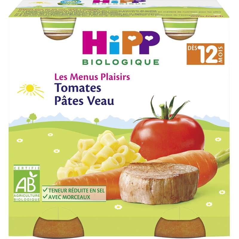 Les menus plaisirs tomates, pâtes, veau BIO - dès 12 mois, Hipp (2 x 250 g)