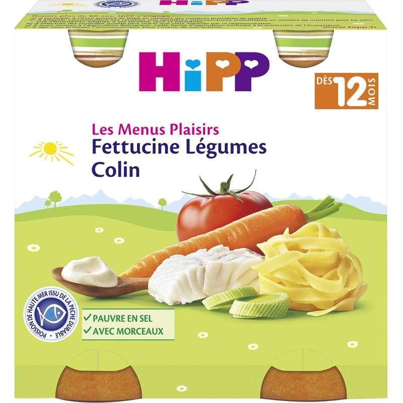Les menus plaisirs fettucine, légumes, colin BIO - dès 12 mois, Hipp (x 2, 250 g)
