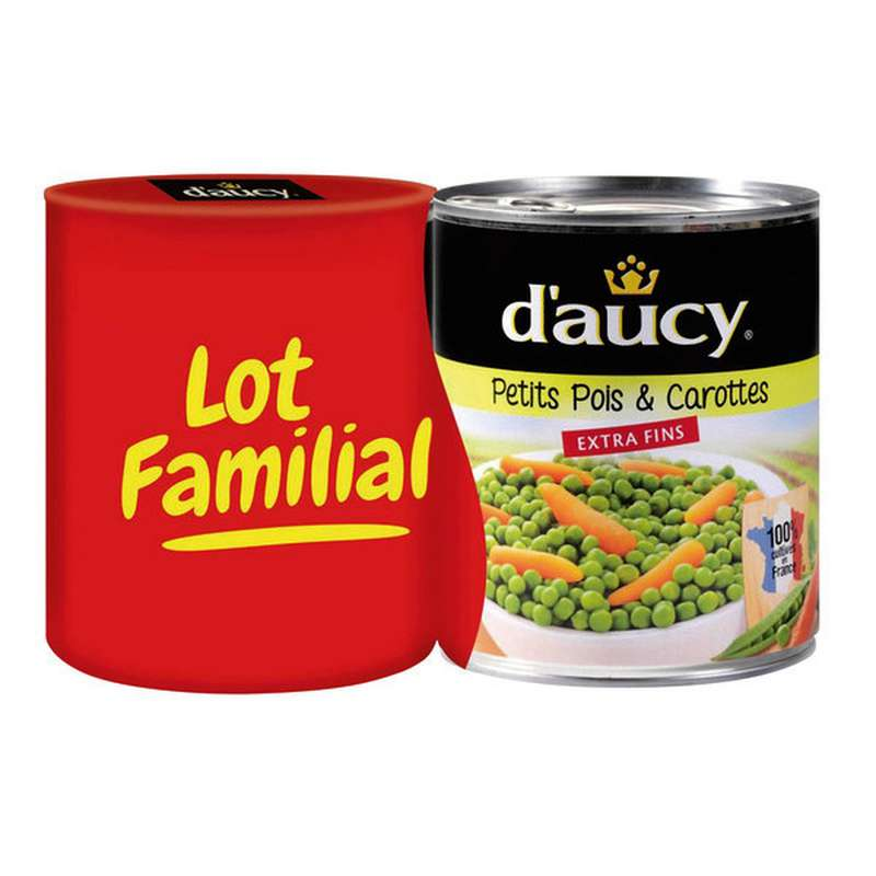 Petits pois carottes extra-fins, D'aucy LOT DE 2 (2 x 530 g)