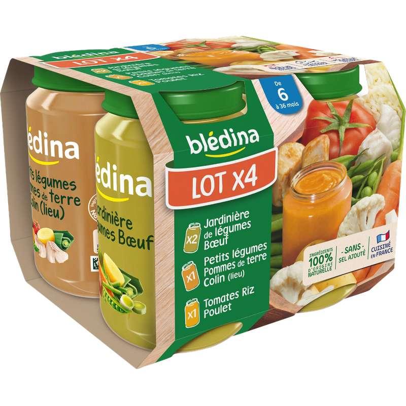 Petit pot tomate riz poulet / petits légumes colin / jardinière boeuf - dès 6 mois, Blédina (4 x 200 g)