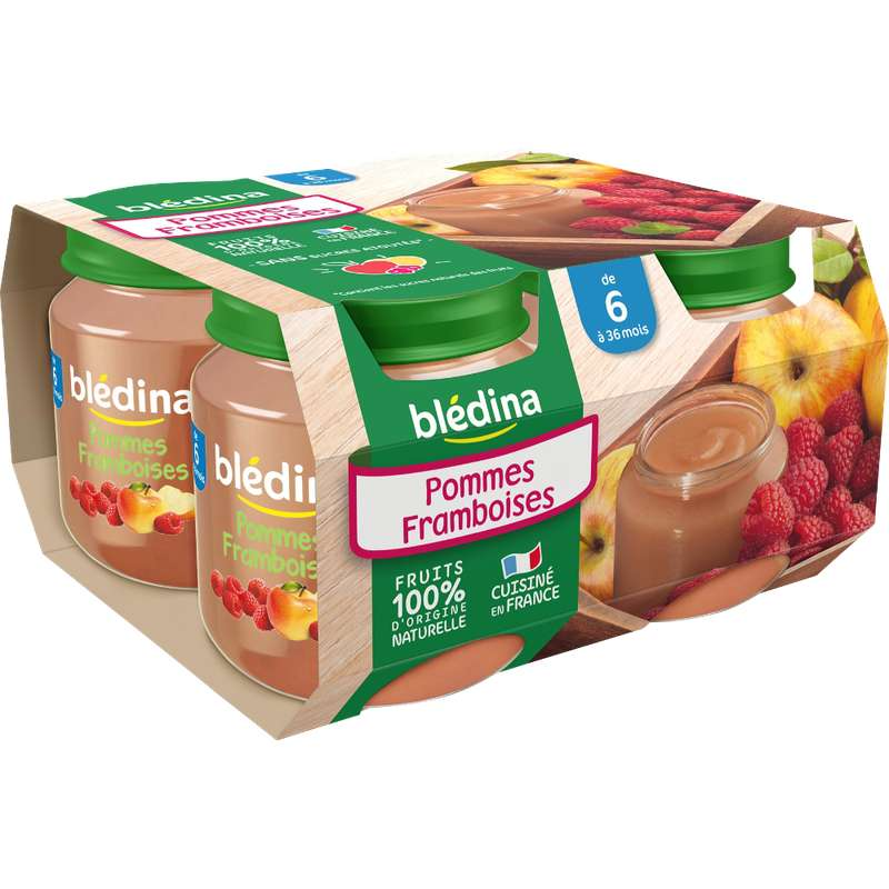 Petit pot pommes, framboises - dès 6 mois, Blédina (4 x 130 g)