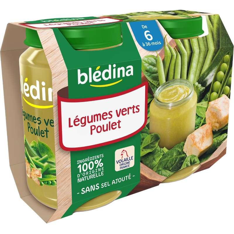 Petit pot légumes verts, poulet - dès 6 mois, Blédina (2 x 200 g)