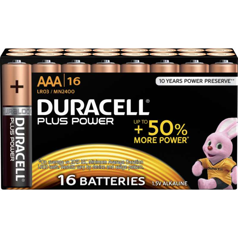 Pile AAA/LR03 Plus Power, Duracell (x 16)