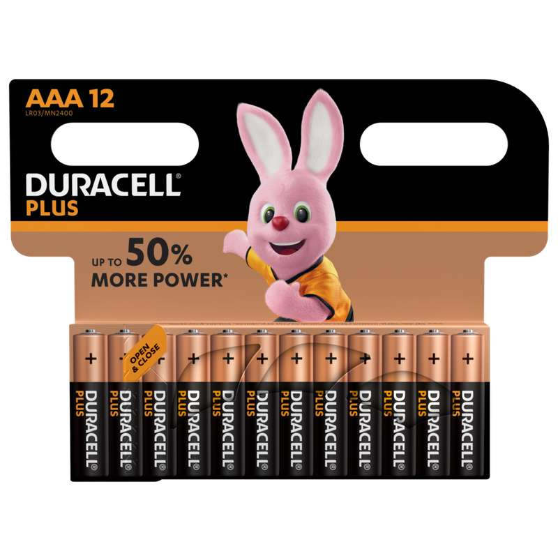 Piles AAA/LR03 Plus Power, Duracell (x 12)