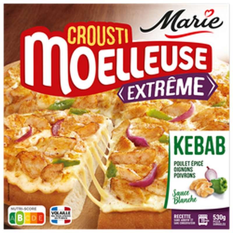 Pizza Crousti-moelleuse Extrême poulet mariné façon kebab mozzarella et sauce blanche, Marie (530 g)
