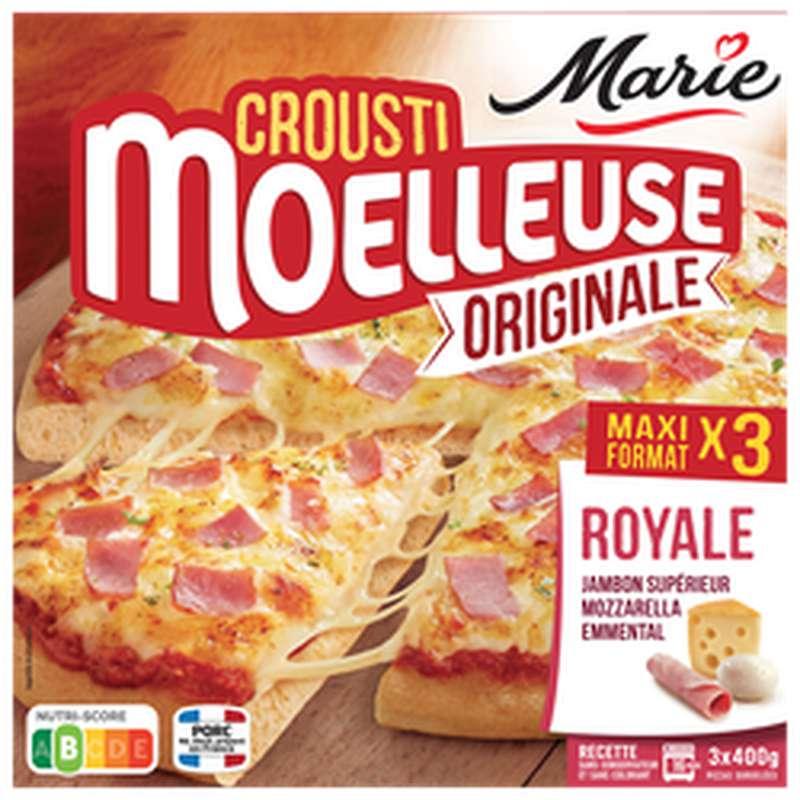 Pizza crousti-moelleuse Royale jambon fumé, mozzarella et emmental, Marie (x 3)