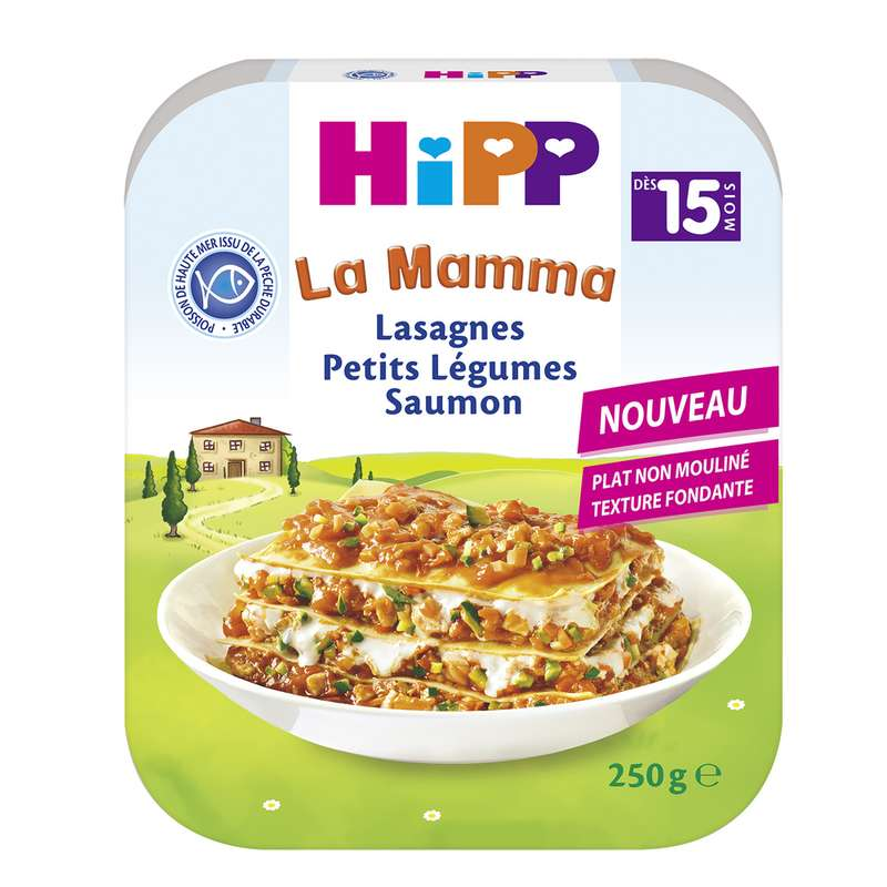 La mamma lasagnes petits légumes saumon BIO - dès 15 mois, Hipp (250 g)