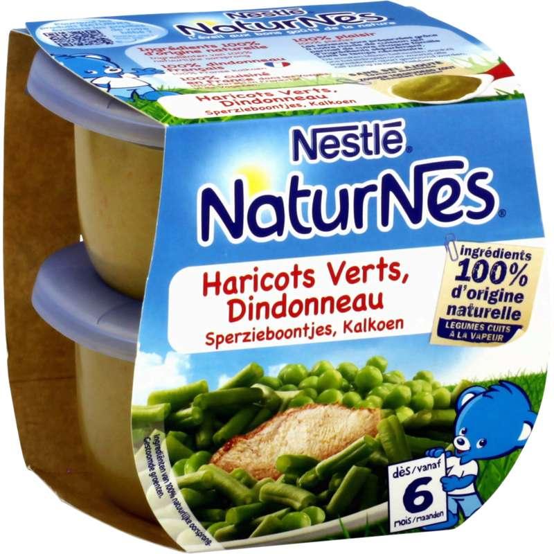 Haricots verts, dindonneau - dès 6 mois, Naturnes Nestlé (2 x 200 g)